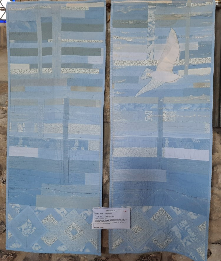 Two dyed and quilted panels, blue tones called 'Passing Through' by Liz Coleman