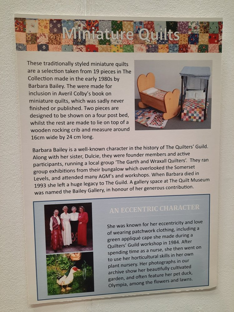 Description of miniature patchwork by Barbara Bailey, in The Quilters' Guild Collection