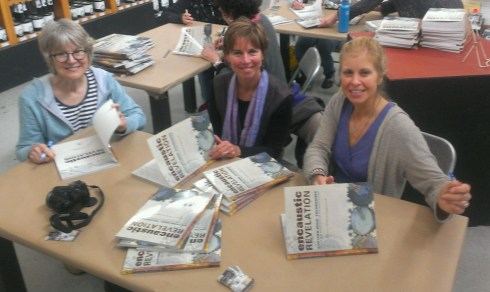 Judy Wise, Shary Bartlett and Patricia Baldwin Seggebruch, the author, signing Encaustic Revelation.