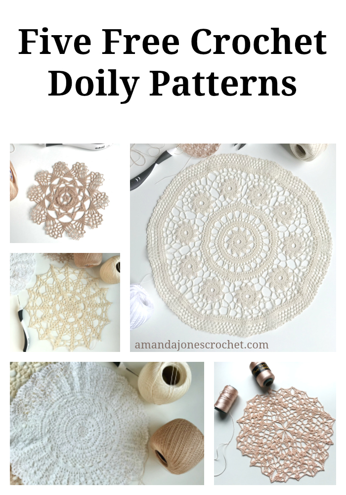 crochet doily patterns with diagram of a flowering plant label five free amanda jones pin the picture below to your pinterest boards so you don t forget where find these beautiful