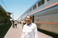 Geri. She was traveling to Portland via Amtrak, but she said she preferred the Greyhound.