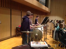 The percussion section prepares to play in the Gears of War theme.
