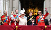 LONDON, ENGLAND - JUNE 13: (L-R) Prince Charles, Prince of Wales, Prince George of Cambridge, Prince William, Duke of Cambridge, Queen Elizabeth II, Prince Harry and Prince Philip, Duke of Edinburgh during the annual Trooping The Colour ceremony at Horse Guards Parade on June 13, 2015 in London, England. (Photo by Danny Martindale/WireImage)