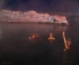 Mývatn Nature Baths. Aly (UK), Sophia (Greece) & Ely (USA).