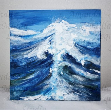 """How high the depths, acrylic and tissue paper on foam board, 12x12""""; $20"""
