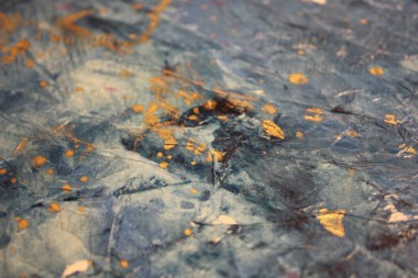 """Close up - How high the depths, acrylic and tissue paper on foam board, 12x12""""; $20"""