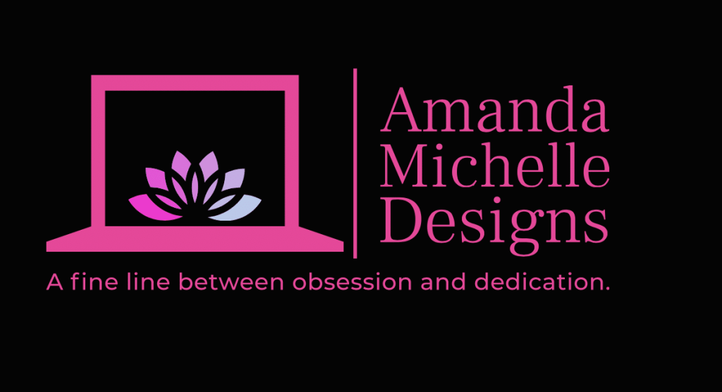 Amanda M Designs logo, picture of a laptop and lotus flower with name