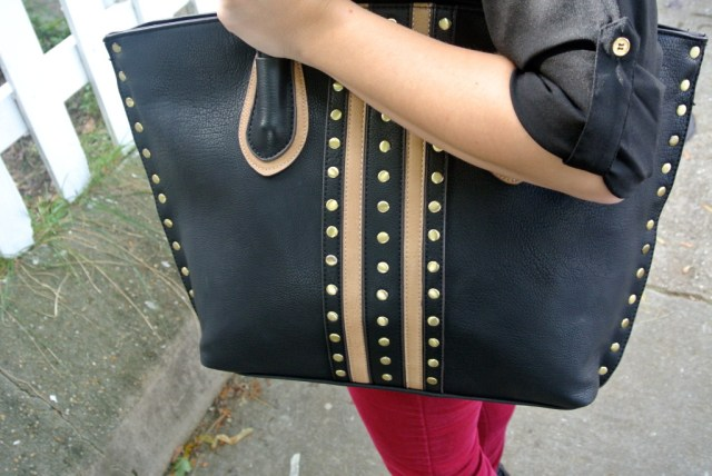 black and brown studded purse