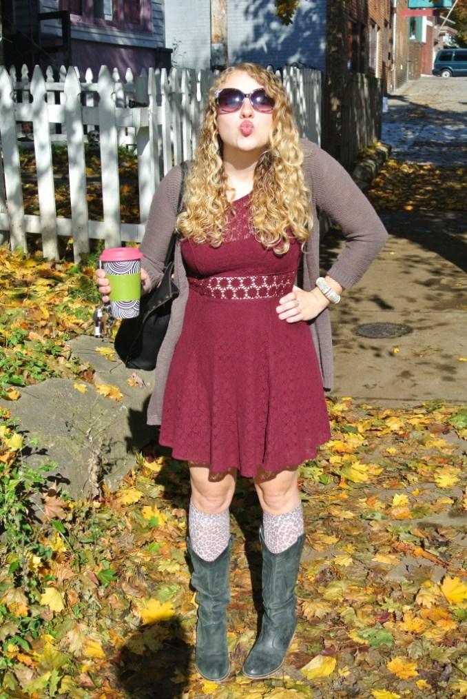 maroon dress kisses