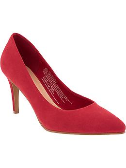 old navy red suede pump