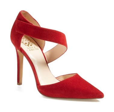 vince camuto red suede heels
