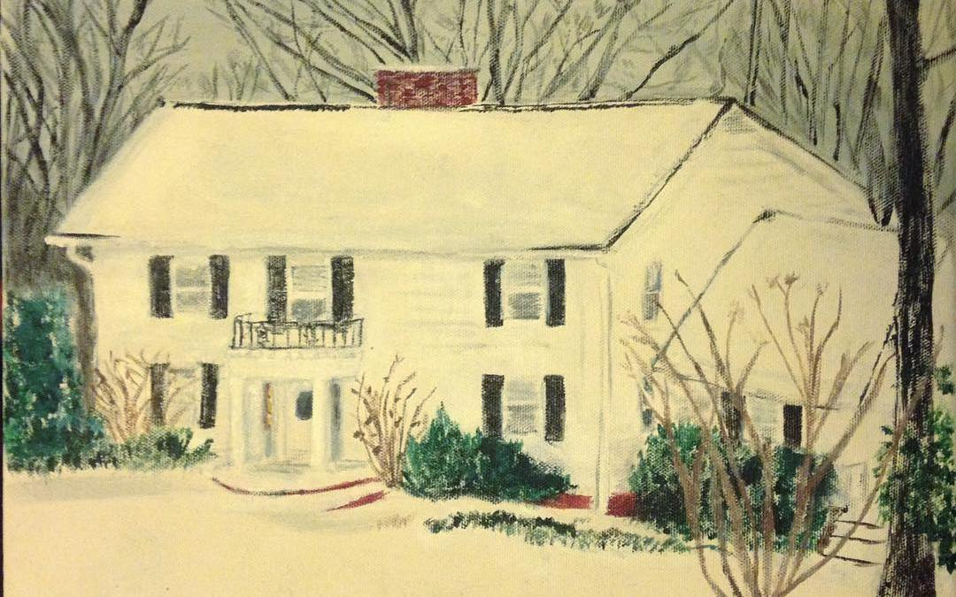 Primitive Style Painting of My Grandparents' House in the Snow