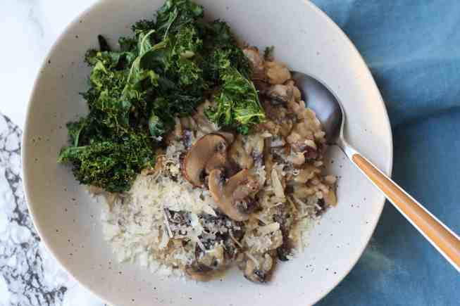 mushroom risotto, baked kale chips