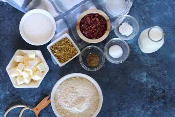 rose and pistachio scones ingredients