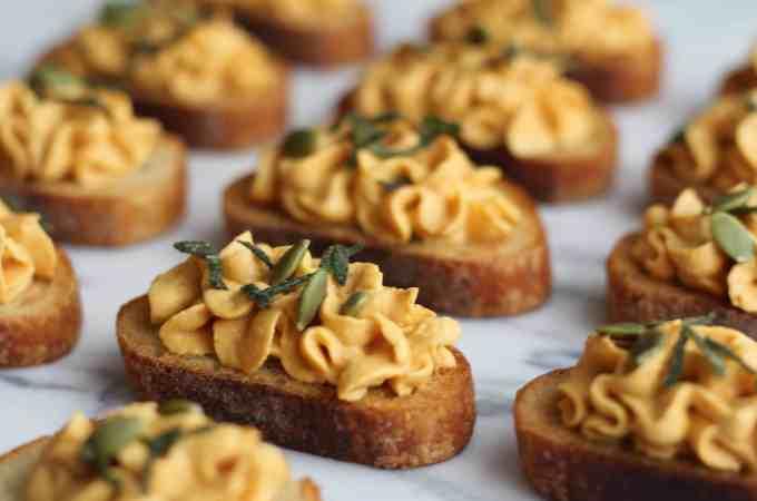 Pumpkin Goat Cheese Crostini