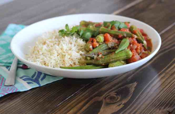 basmati rice, okra stew