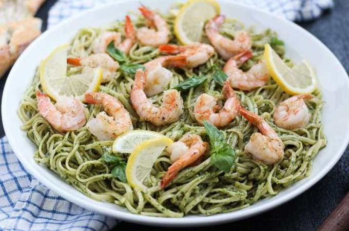 Kale Pesto Shrimp Pasta