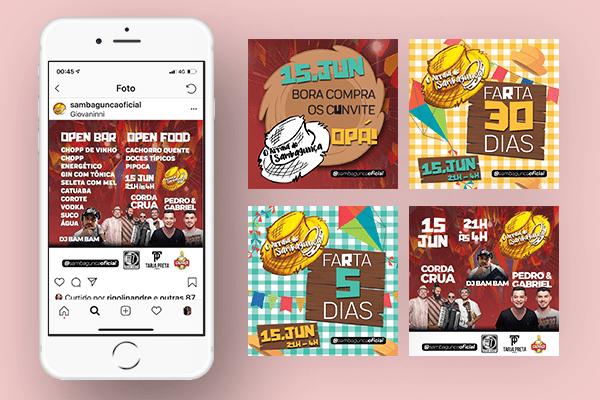Arte para Facebook, Instagram e Stories do evento Arraiá do Sambagunça