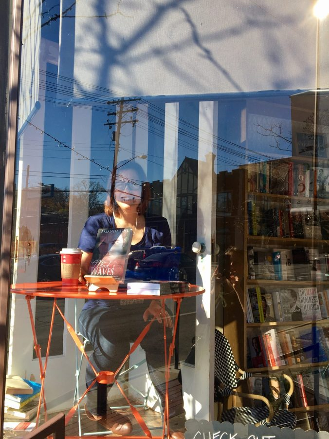All settled in the window at Appletree Books and ready to write.