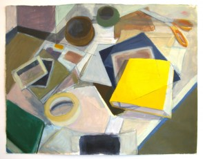 """painting and graphite on paper, 24""""x 36"""", 2012"""
