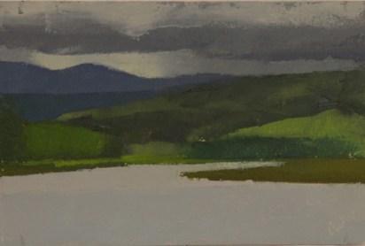 """Salmon River Estuary, Oregon: May,"" oil on paper, 4""x 7"", 2012"