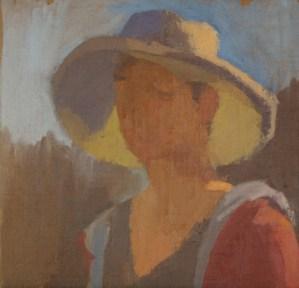 """""""Self-Portrait in Aunt Karen's Hat,"""" oil on linen on board, 14""""x 14"""", 2011"""