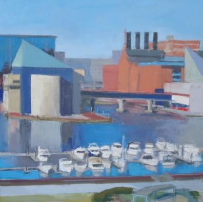 """""""Inner Harbor, Baltimore,"""" oil on canvas, 20""""x 20"""", 2011"""