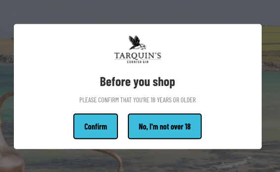 Example Interstitial on a website for age consent.