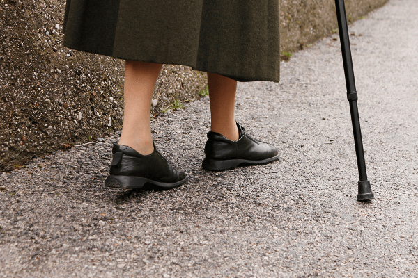 Older lady wearing comfortable shoes