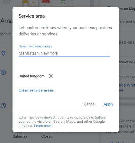 Google My Business Location settings