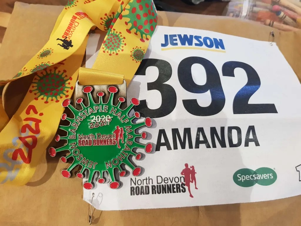 Barnstaple Half marathon Medal And Race number