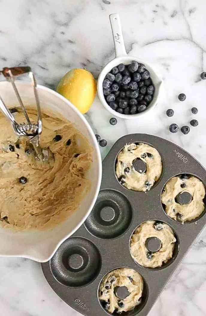 Baked Blueberry Lemon Donuts pre baking