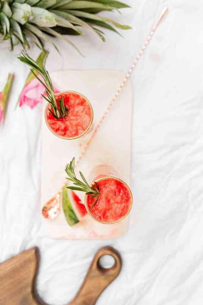 two frozen watermelon lemonade