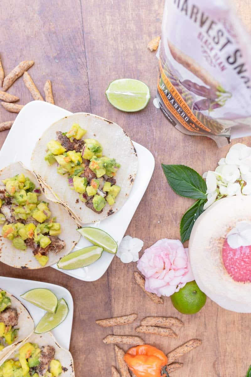 habanero fish tacos overhead with harvest snaps