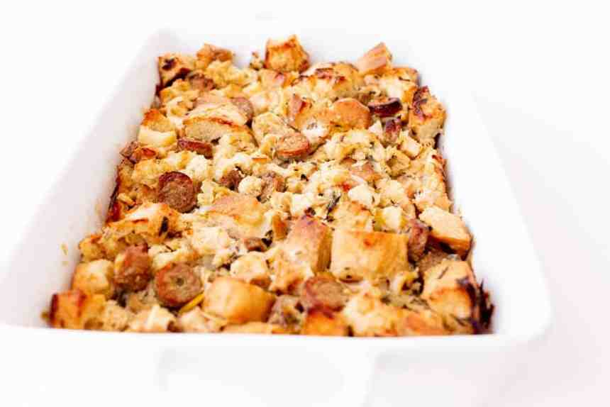 sausage pear stuffing side view