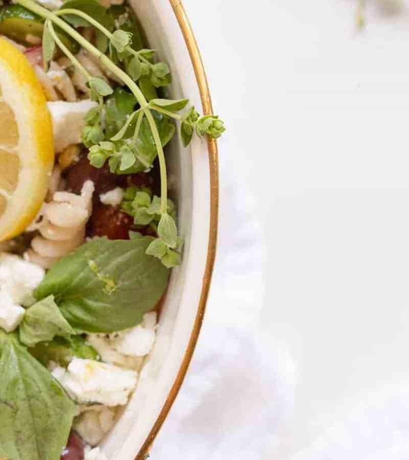 overhead of pasta salad