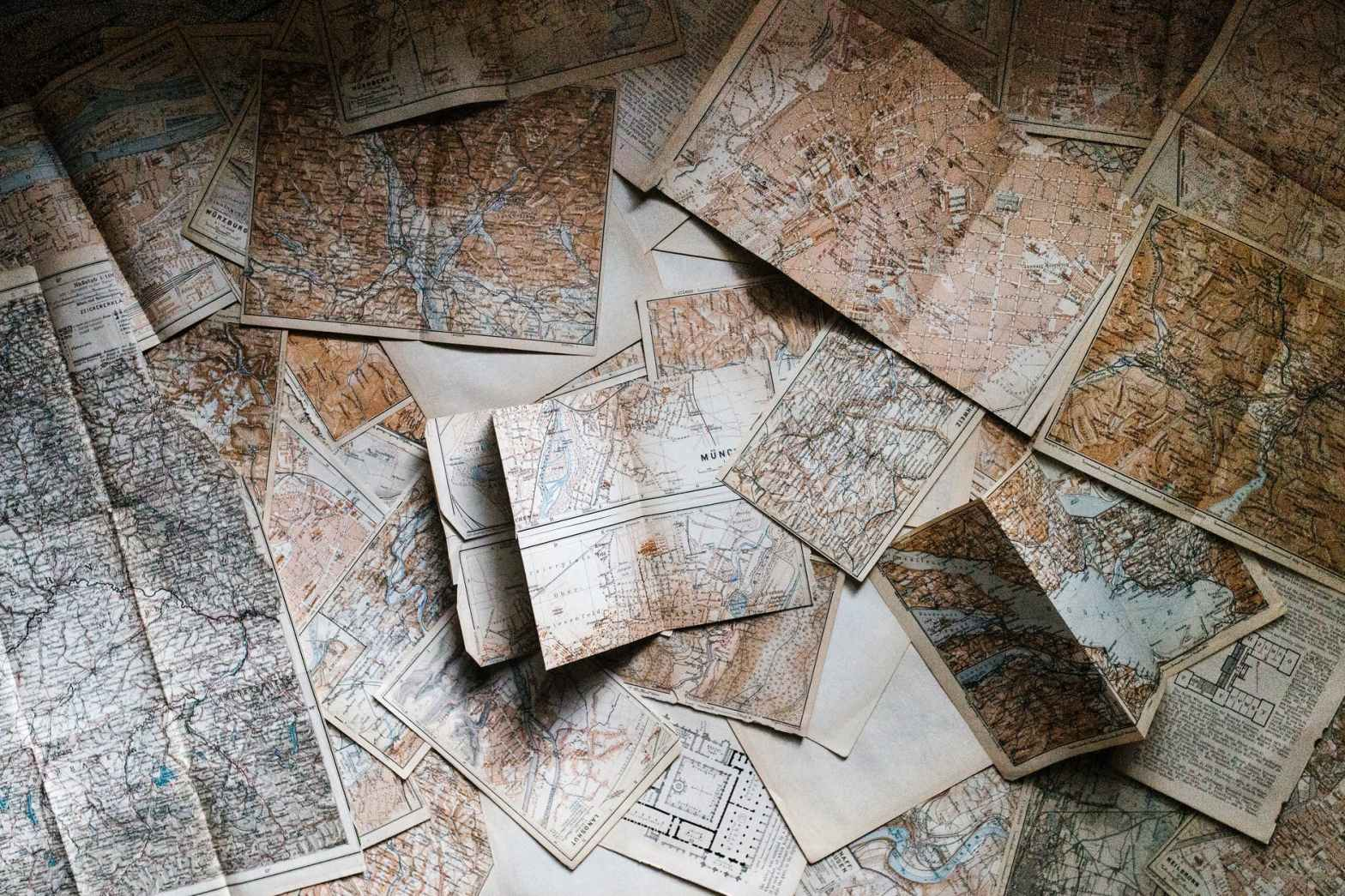assorted map pieces
