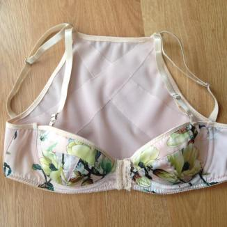 posture bra experiment number 2. more successful with double straps. beautiful floral charmeuse from TailorMadeShop on etsy.