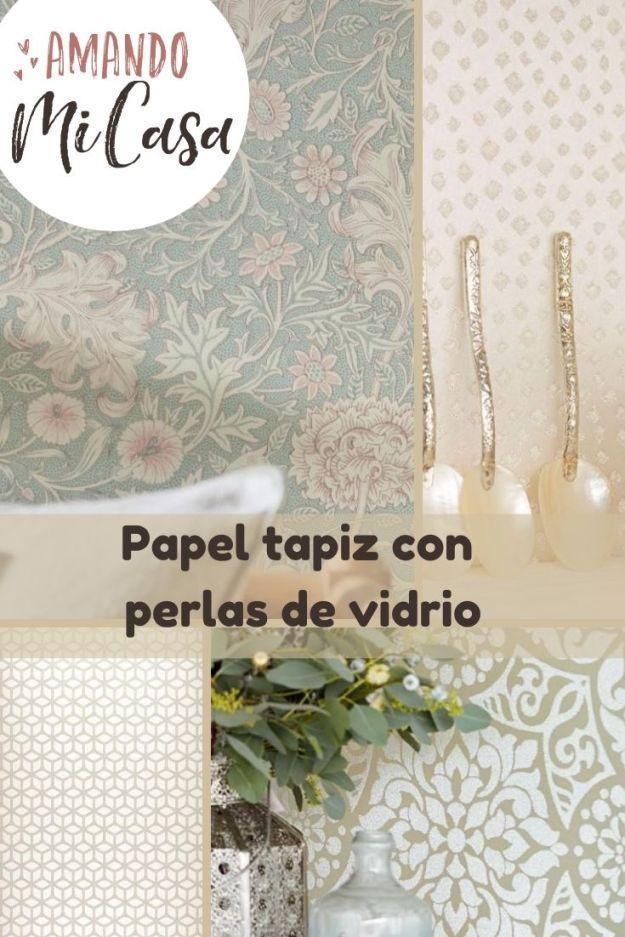 Papel tapiz con perlas de vidrio