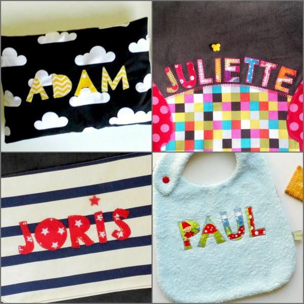 Broderie prénom sur créations textiles enfants
