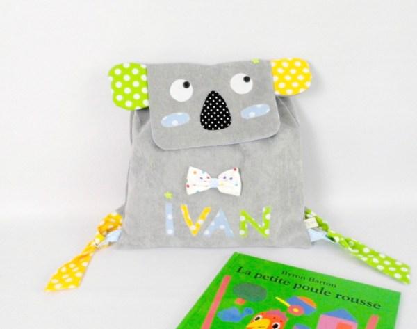 sac-a-dos-garcon-koala-personnalie-brode-prenom-ivan-gris-jaune-vert-sac-bebe-creche-ecole-maternelle-koala-baby-backpack-preschool-toddler-koala-backpack