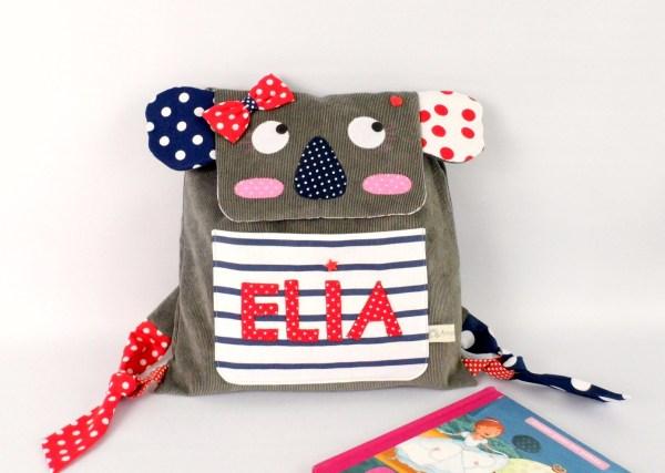 sac-a-dos-enfant-ecole-maternelle-personnalisable-prenom-elia-koala-gris-rouge-bleu-marine-style-marin-cadeau-naissance-backpack-personalized-name-preschool-koala-baby-gift