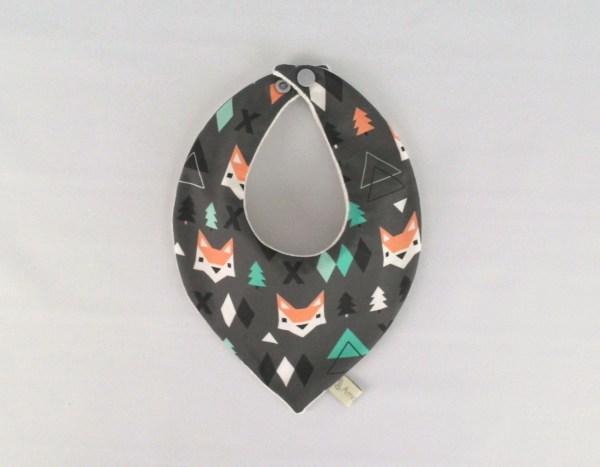 bavoir-bandana-renard-gris-vert-orange-garcon-bandana-foulard-eponge-bambou-bio