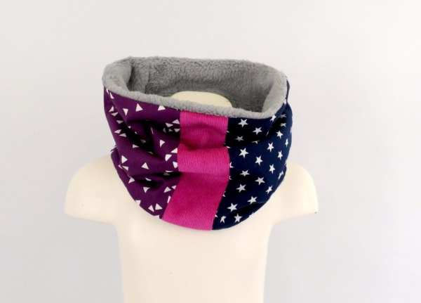 echarpe-cache-cou-fille-tube-violet-rose-ecole-maternelle-snood-bebe-enfant-personnalisable