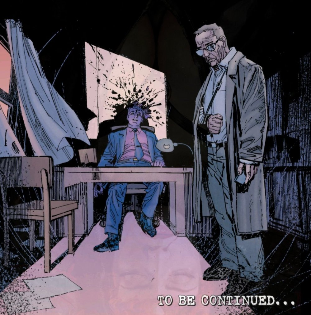 Ben Urich standing before a murdered Purple Man