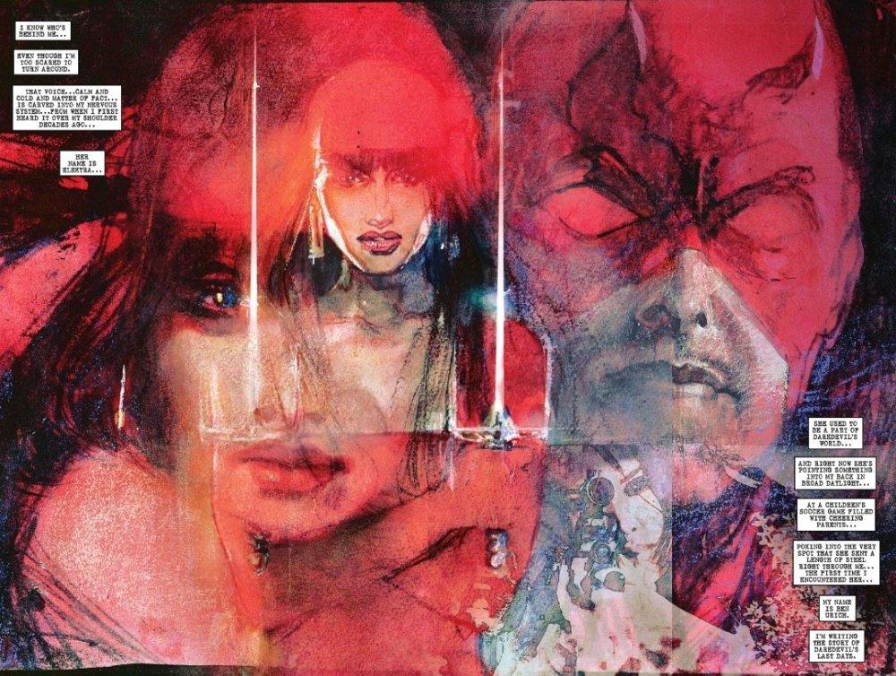 daredevil and Elektra watercolor