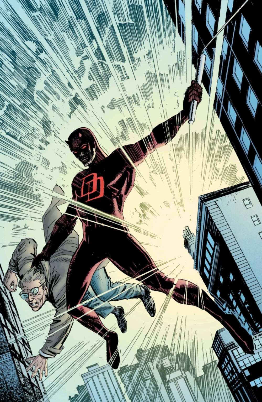 Daredevil rescuing Ben Urich from falling