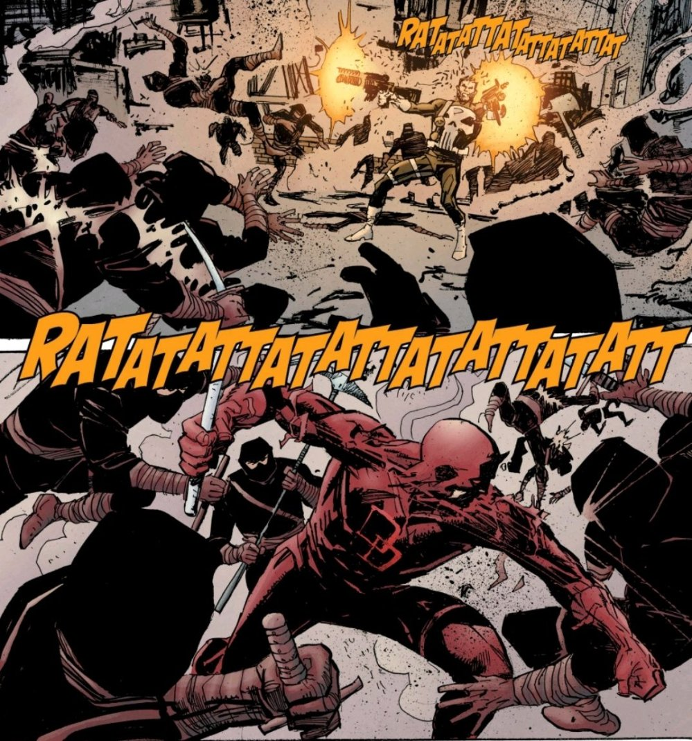 Punisher and Daredevil fighting the Hand