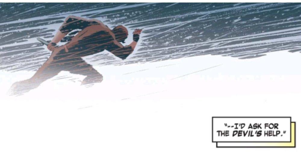 Daredevil running through a blizzard