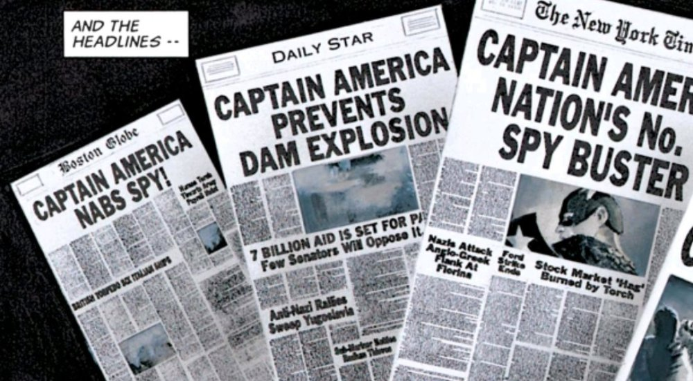 Captain America newspaper headlines